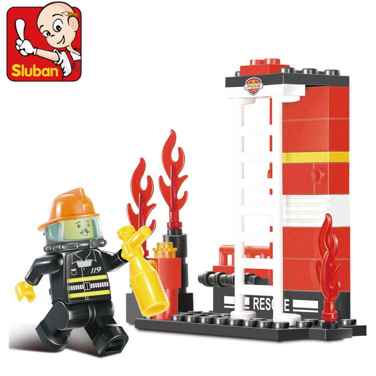 Free shipping educational toy 3d plastic city small fireman model building kits assembled block children boy