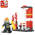 Free shipping educational toy 3d plastic city small fireman model building kits assembled block children boy creative gift 1 pc