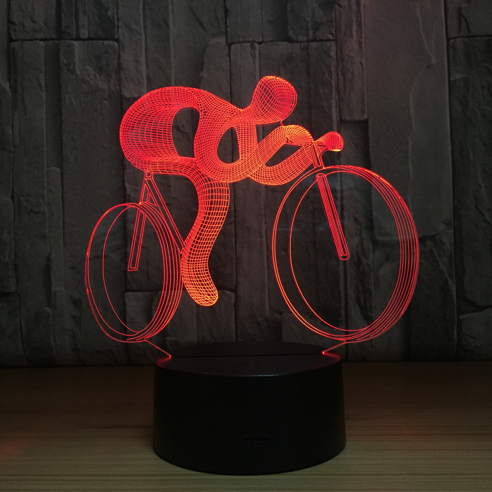 Bicycle 3D LED Night Lamp Light 7 Color Changing Visual Hologram Decor AAA Batteries Usb Table Lampara Lamp Gift for Sports Guy novelty 3d full moon lamp led night light usb rechargeable color changing desk table light home decor 8 10 12 15 18 20cm
