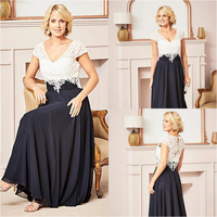 Outfits Two Tone Ankle Length Mother Of The Bride Dresses Vestido De Madrinha Cap Sleeve Top Lace Groom Mother's evening dress