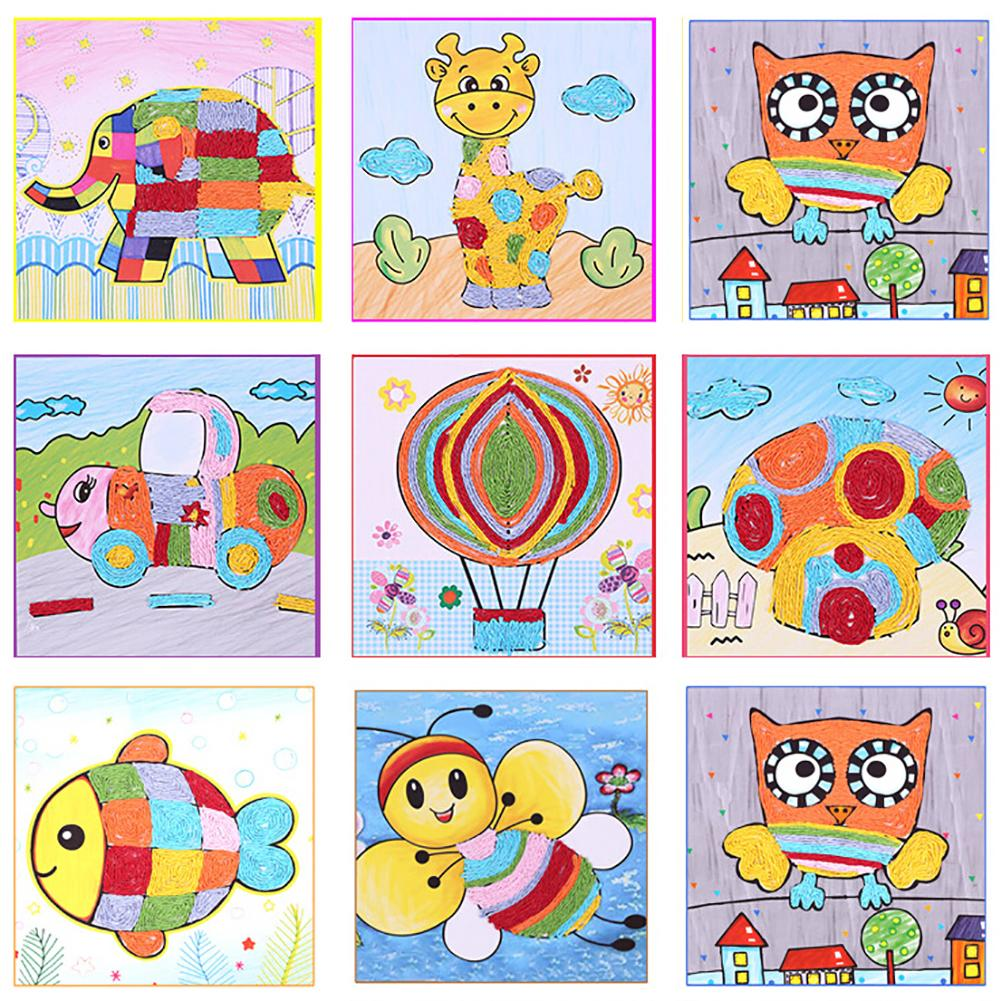 DIY Rope Paste Sticker Cartoon Painting Handmade Crafts Kids Development Toy Outdoor Toys Gift For Children Games Party Activiti