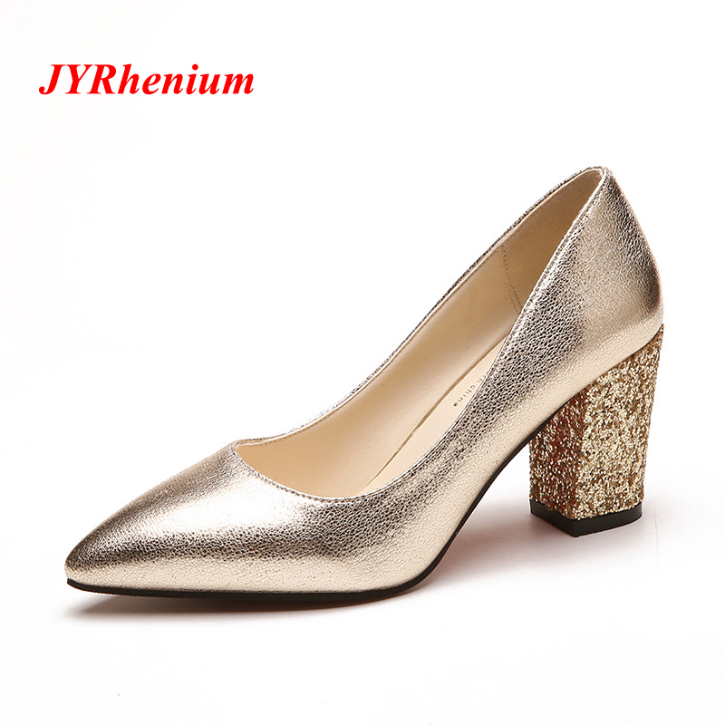 JYRhenium 2018 Women Pumps High Heels Women Shoes Thick Heels Female Shoes Wedding Shoes Gold Heels Sliver Red Ladies Shoes