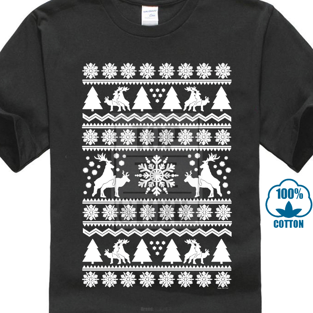 e7c97c9fcbb Reindeer Humping Ugly Christmas Sweater Animal Santa Gift Mens T Shirt-in  T-Shirts from Men s Clothing on Aliexpress.com