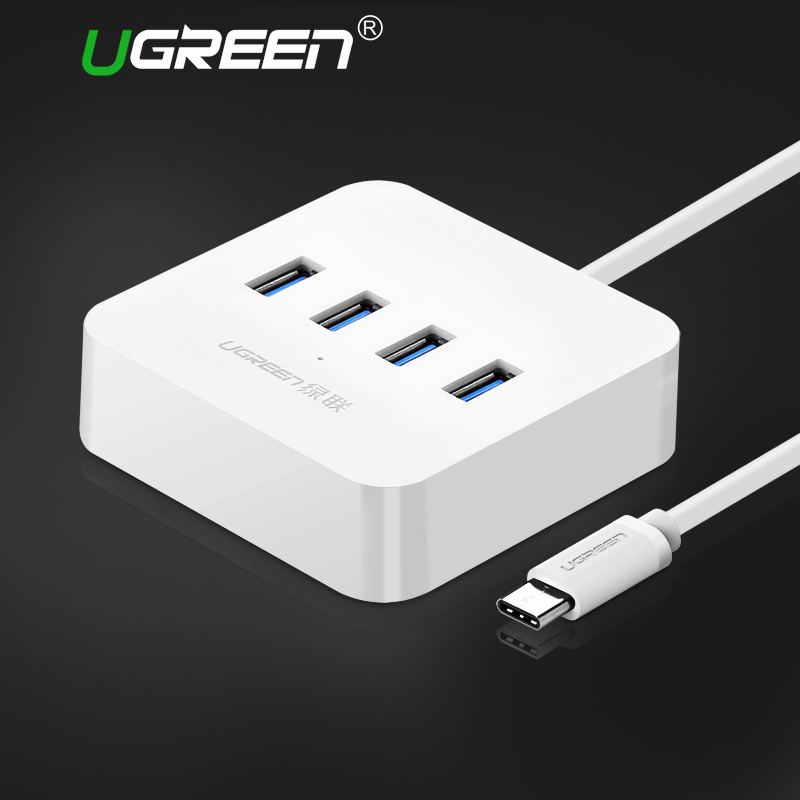Ugreen USB C HUB 4 Ports OTG USB 3.0 HUB with Led Indicator Type C Splitter to USB Hub for Macbook Xiaomi4C USB-C Type-c Hubs orico usb hub 20 usb ports industrial usb2 0 hub usb splitter with 2 models data transmission ih20p