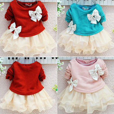 53b144e2c05b XMAS Party Baby Girls Knit Crochet Sweater Tops Lace Tulle Tutu Bowknot  Dresses-in Dresses from Mother & Kids on Aliexpress.com | Alibaba Group