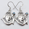 Pure Silver BLUE FIRE LABRADORITE Ganesha Ohm Prayer Earrings 1 1/2 inches