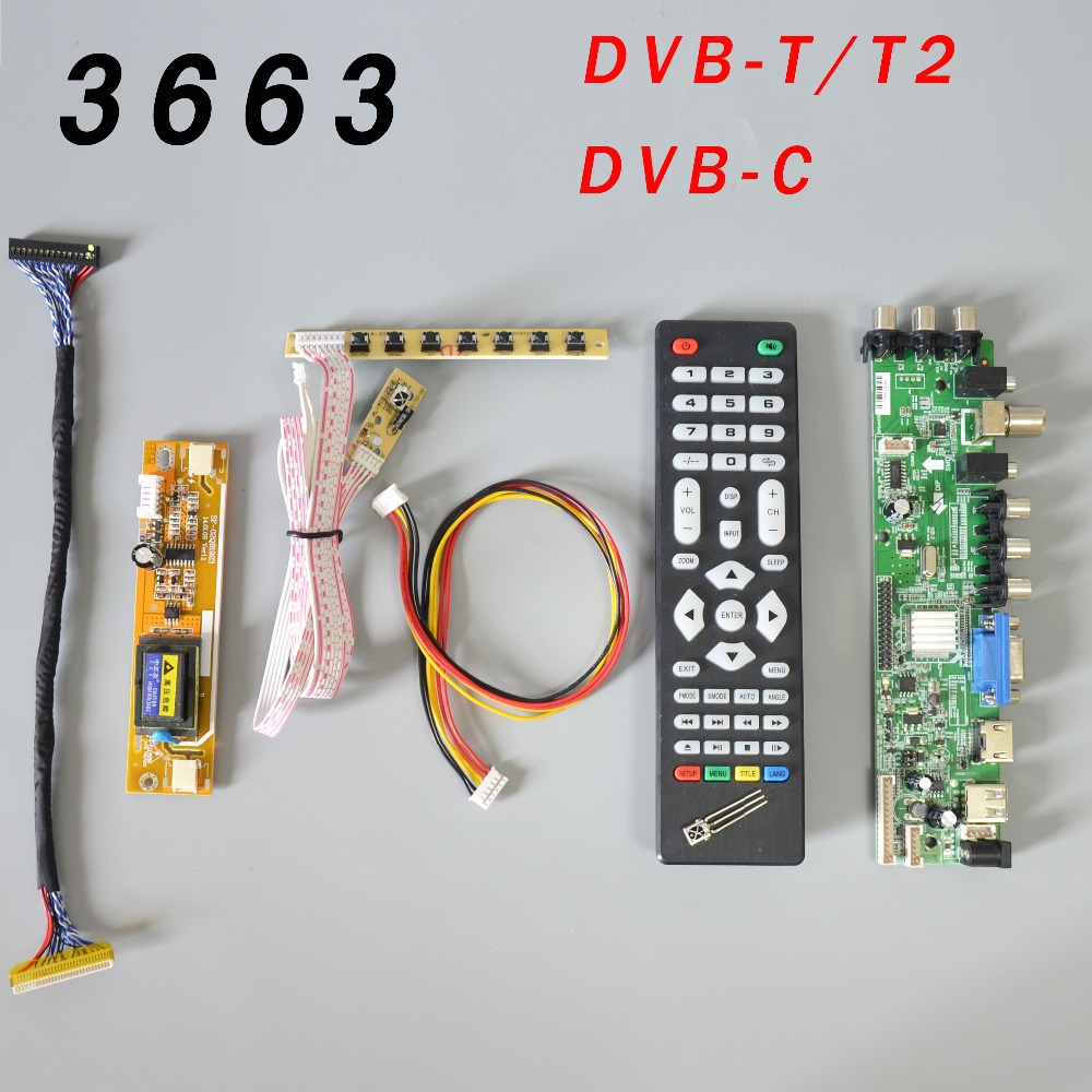 DS.D3663LUA.A81.2.PA V56 V59 Universal LCD Driver Board Support DVB-T2 TV Board+7 Key Switch+IR+2 Lamp Inverter+LVDS 3663