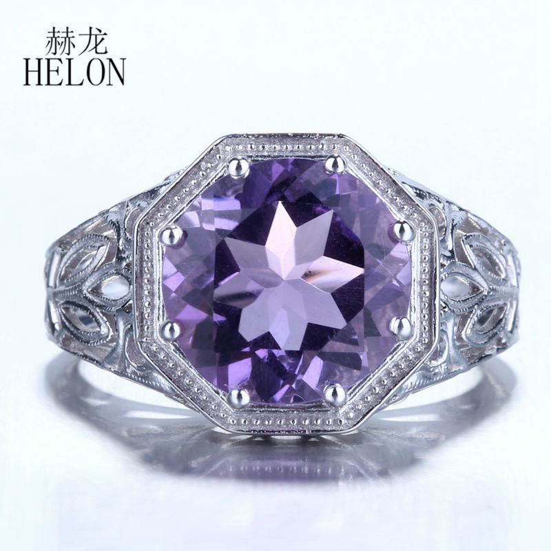 HELON 10mm Round Shape 3.7ct Amethyst Sterling Silver 925 Engagement Wedding Ring Art Deco Style Vintage Women's Jewelry Ring серьги art silver art silver ar004dwzmh30