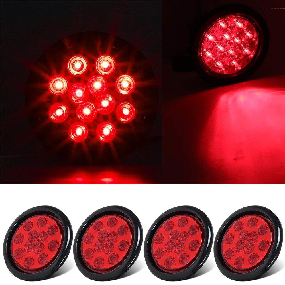 4pcs 4 Inch Round Red LED External Lights Auto Car Bus Truck Trailer Light Indicator Light Fender Bulb Identification Light