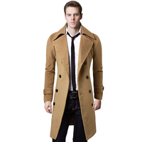2019 Autumn Winter New Man Jacket Stylish Men's Trench Coat Winter Jacket Double Breasted Overcoat Wool Trench Long Mens Coats