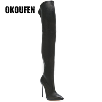 35-43 PU/suede 2 option plus size point toe spring over the knee boots women shoes 2017 long knee boots with metal heels new sexy boots leopard female boots flat heel suede women over the knee boots increased plus size 43 botas femininas 2015 page 4