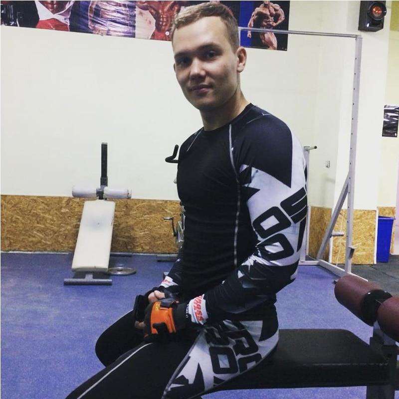 crossfit T-shirt fitness men compression top long sleeve sports compression underwear leggings rash gard kit track suit 4XL