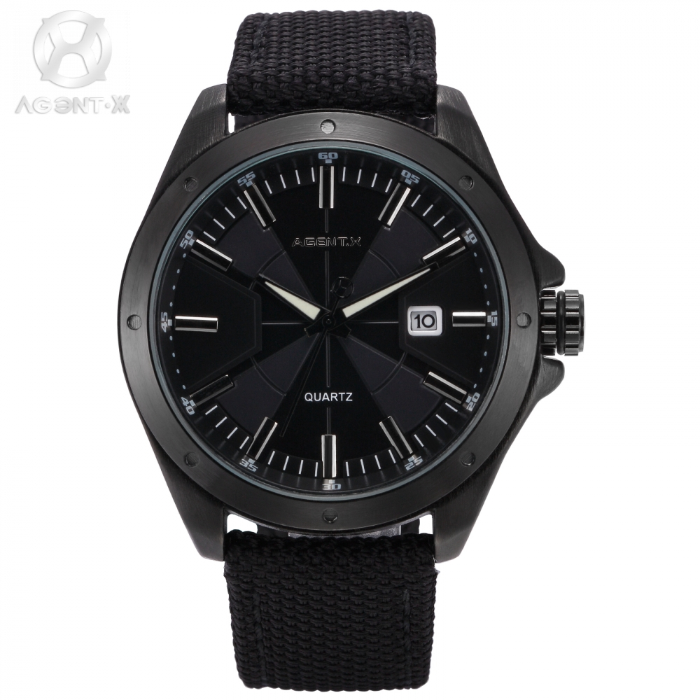Watch for Man Styles AgentX Brand Relogio Masculino Nylon Water Resistant Quartz Black Official Box Watch Herren Uhr / AGX147 6 colors orkina brand male nylon band date display sports quartz relojes mujer 2016 mens black case watch cool herren uhr rot