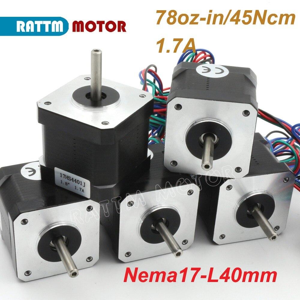 EU Ship Nema17 Stepper Motor 1 7A 40mm 78oz in for CNC 3D print Semiconductor Equipment