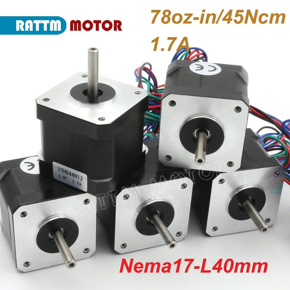 EU Ship! Nema17 Stepper Motor 1.7A/40mm/78oz in for CNC 3D print Semiconductor Equipment Milling Machine With Connector-in Stepper Motor from Home Improvement    1