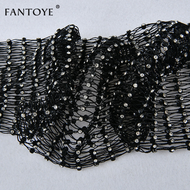 Fantoye Crystal Diamond Mesh Pants Women Sexy Summer Hollow Out Transparent Loose Long Fishnet Pants 2019 New BeachWear Trousers 6