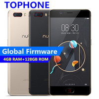 Глобальный Нубия M2 5,5 FHD 4 ГБ Оперативная память 128 ГБ Встроенная память мобильного телефона MSM8953 Octa Core 3630 мАч 16.0MP Android м отпечатков пальцев ID 4