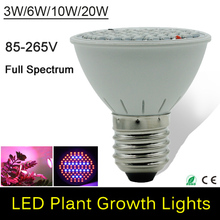 3W/6W/10W/20W LED Plant Grow Light Lamps E27 AC85-265V SMD3528 Red+Blue For Flowering Plant and Hydroponics System For Grow Box
