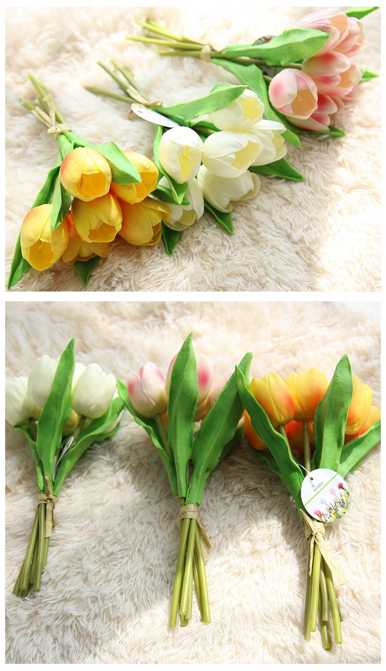 3 màu sắc của Hoa Tulip giả mẫu M-173 là vàng, trắng và hồng