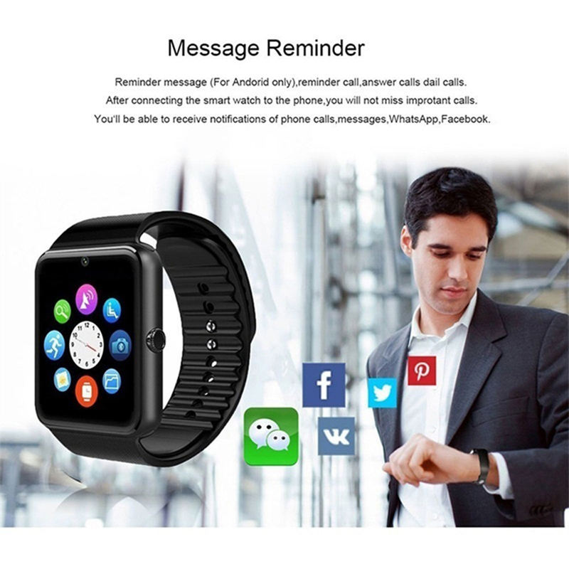 Image 3 - GT08 Bluetooth Smart Watch Phone Men Women Support 2G SIM TF Card Camera for Android Iphone Huawei Xiaomi Smartwatch PK Z60 X6-in Smart Watches from Consumer Electronics