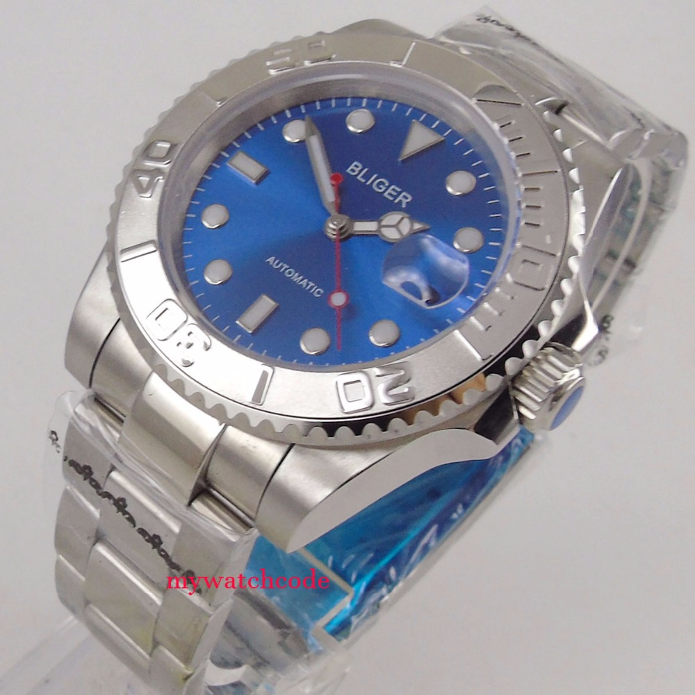 цена 40mm bliger blue sterile dial vintage date window sapphire crystal automatic mens watch онлайн в 2017 году
