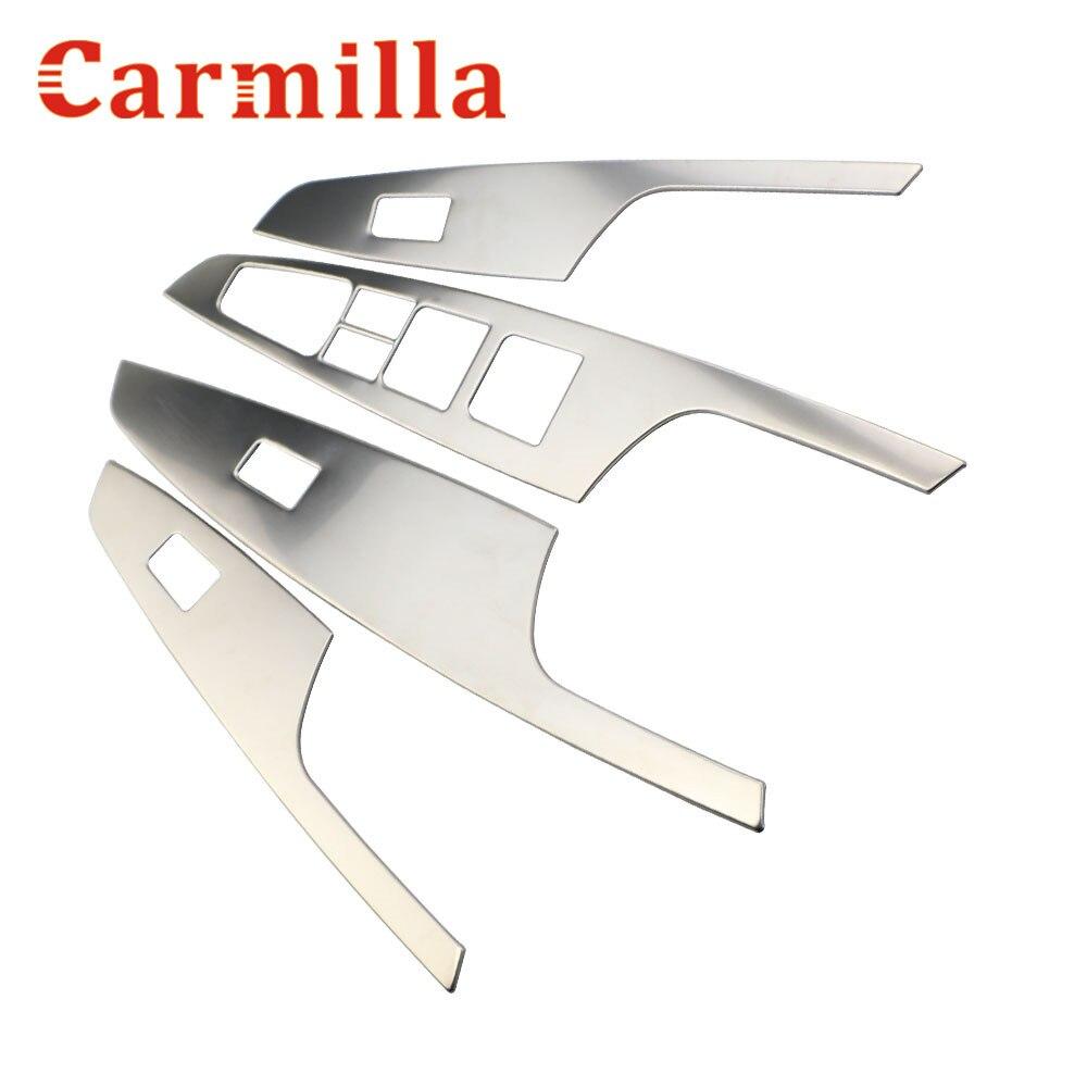 Carmilla 4X Car Stainless Steel font b Interior b font Door Window Lifter Panel Sticker for