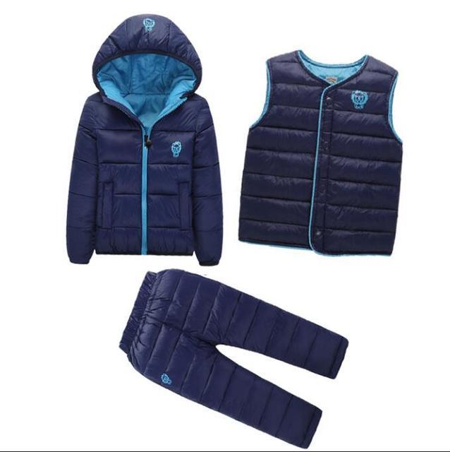 3 Pcs/1 Lote 2016 Conjuntos de Roupas de Inverno Do Bebê Meninas Meninos Crianças Para Baixo acolchoado-Algodão Brasão + Vest + calças Crianças Infantis Quente Outdoot Ternos