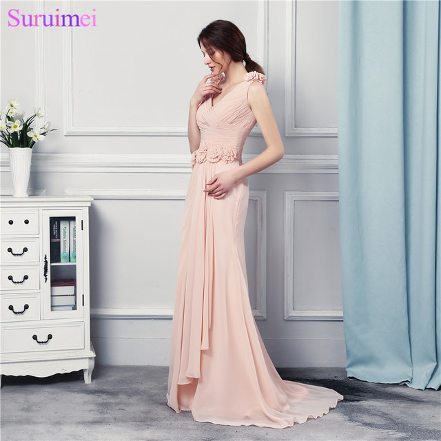 a56b7540c4c Pink Mermaid Prom Dresses With Handmade Flowers Gorgeous Long Prom Gown  Zippered Back Cheap Under 100