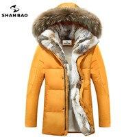 Nam giới và phụ nữ của giải trí xuống áo khoác chất lượng cao dày ấm ấm với Lông trùm đầu parka thương hiệu big kích thước màu vàng đen trắng S-5XL