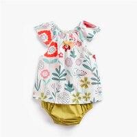 Newborn Baby Girls Clothes Cotton floral print sleeveless Top T shirt+Shorts Pants 2PCS Set summer children baby Outfit 0 3T