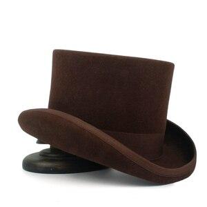Image 4 - 5 màu sắc Top Hat 15 cm 4 Kích Thước Len Phụ Nữ Người Đàn Ông Top Fedora Hat Ảo Thuật Cà Phê Steampunk Cosplay Punk Đảng mũ Dropshipping