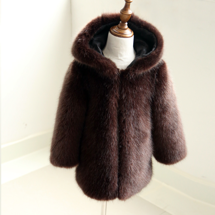 Winter Luxury Brown Mink Hair Fur Coat Kid Gray Faux Fur Collar Loose Big Yards Thicken Warm Long Fur Outerwear On Sale Jackets