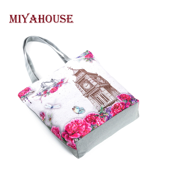 Candy Color Shoulder Bags Female Canvas Tote Handbags Fashion Tower Printing Beach Bag For Women Shopping Bag 1