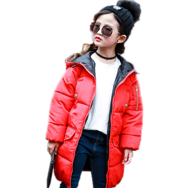 kids coats winter girls 2017 children outwear solid long section girls cotton padded jackets thicken warm kids hooded coat 4-13T girl winter jacket 2017 new long section kids winter coats thicken warm cotton wadded jacket solid hooded children outwear 6 13t