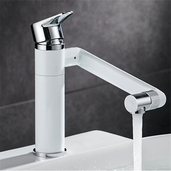 Bathroom Basin Faucet Hot & Cold Sink Mixer Tap Brass Rotating Lavatory White Baking Water Crane Tap Single Handle Deck Mounted 1