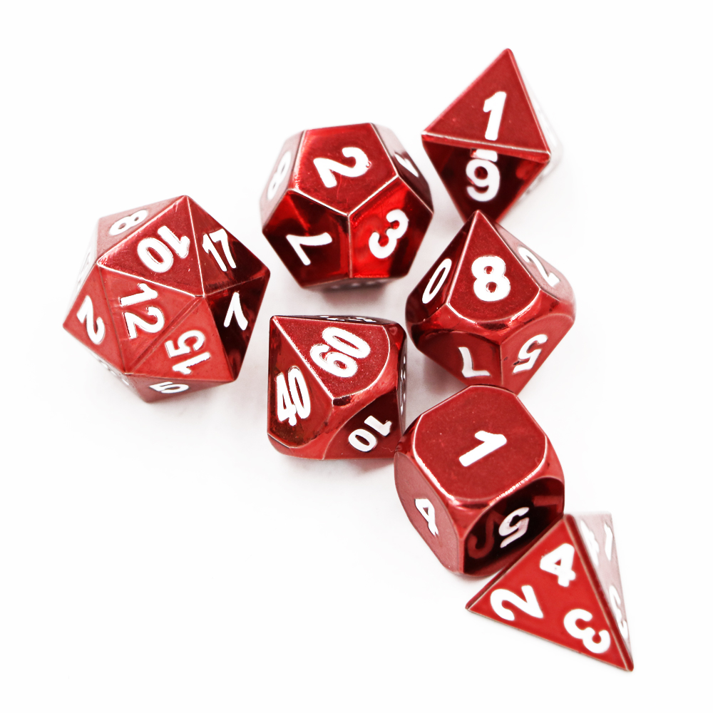 Neue 7 teile/satz Klassische RPG Würfel D & D Metall Würfel DND Spiel Würfel Set Elektrophorese Rot D4 D6 D8 d10 D12 D20 Polyhedral würfel