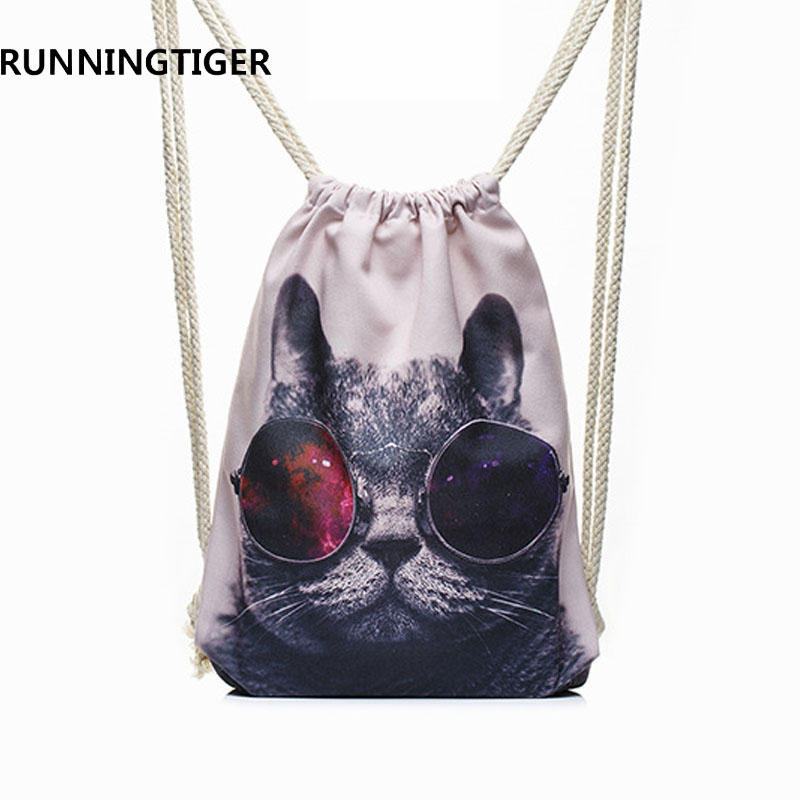 RUNNINGTIGER Zaino con coulisse gatto di marca di moda in tela Zaino più recente Borse da scuola per studenti Borsa da viaggio