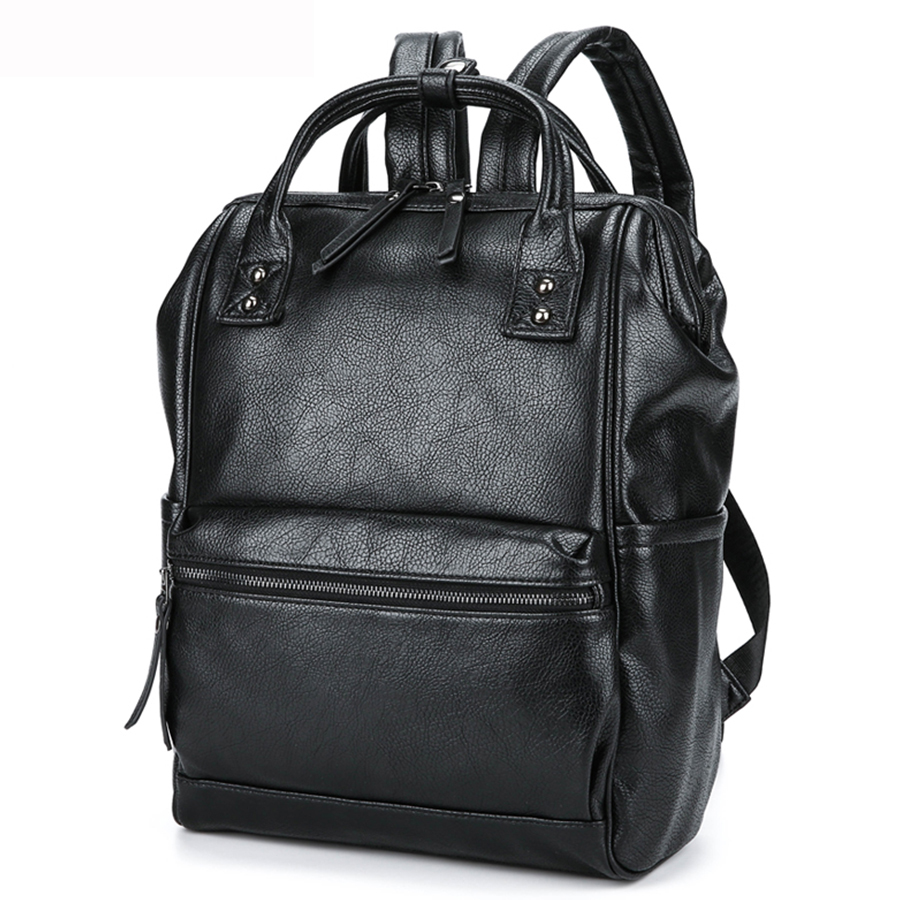 2017New  Men Business Casual Backpacks for School Travel Bag Black PU Leather Men's Fashion Shoulder Bags Vintage Men Backpack