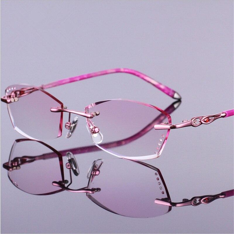Brillengestell Fertigprodukte Brillen Mode Rahmenlose 00003 Prescription Frauen Optische Getrimmt Schöne Rw60nqI1