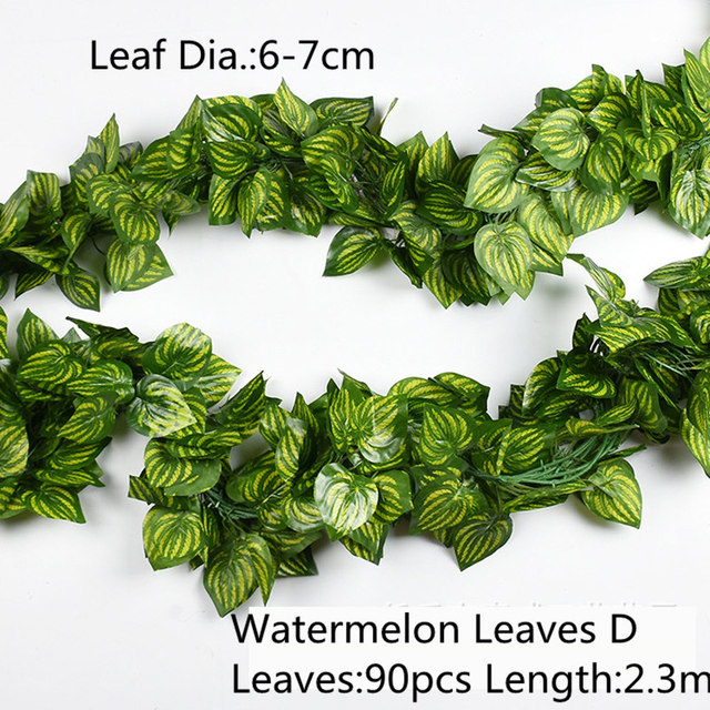 10 Style 1pc Artificial Decoration Vivid Vine Rattan Leaf Vagina Grass Plants Grape Leaves For Home Garden Party Decor B1015 6