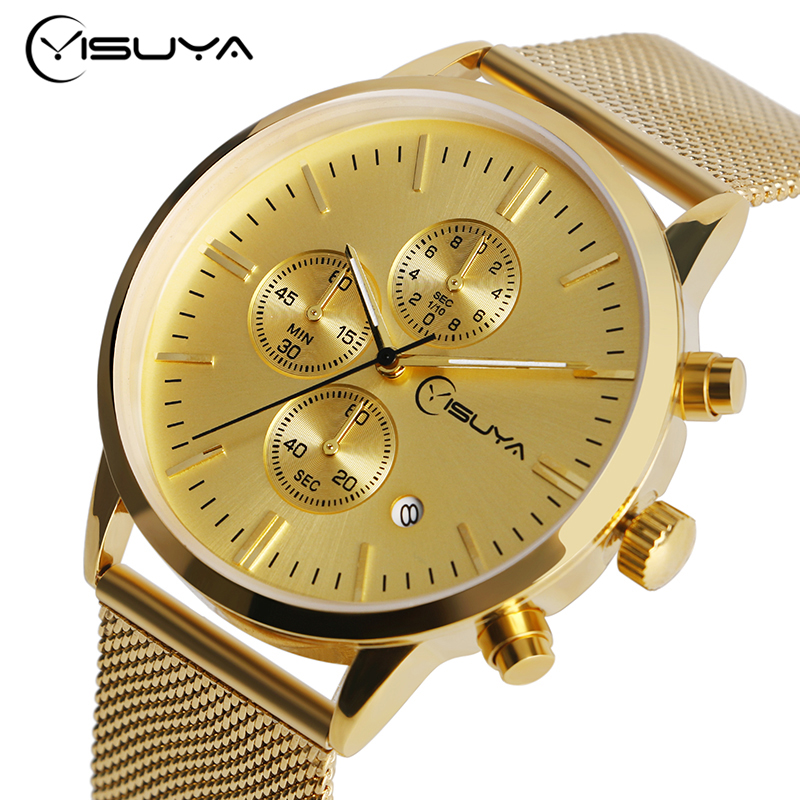 Date Day Men Golden Wrist Watch Chronograph Analog Quartz Stainless Steel Mesh Band Sport Strap Business Hook Buckle kevin silver stainless steel mesh band strap men women wrist watch roman numerals unique fashion simple analog sport quartz