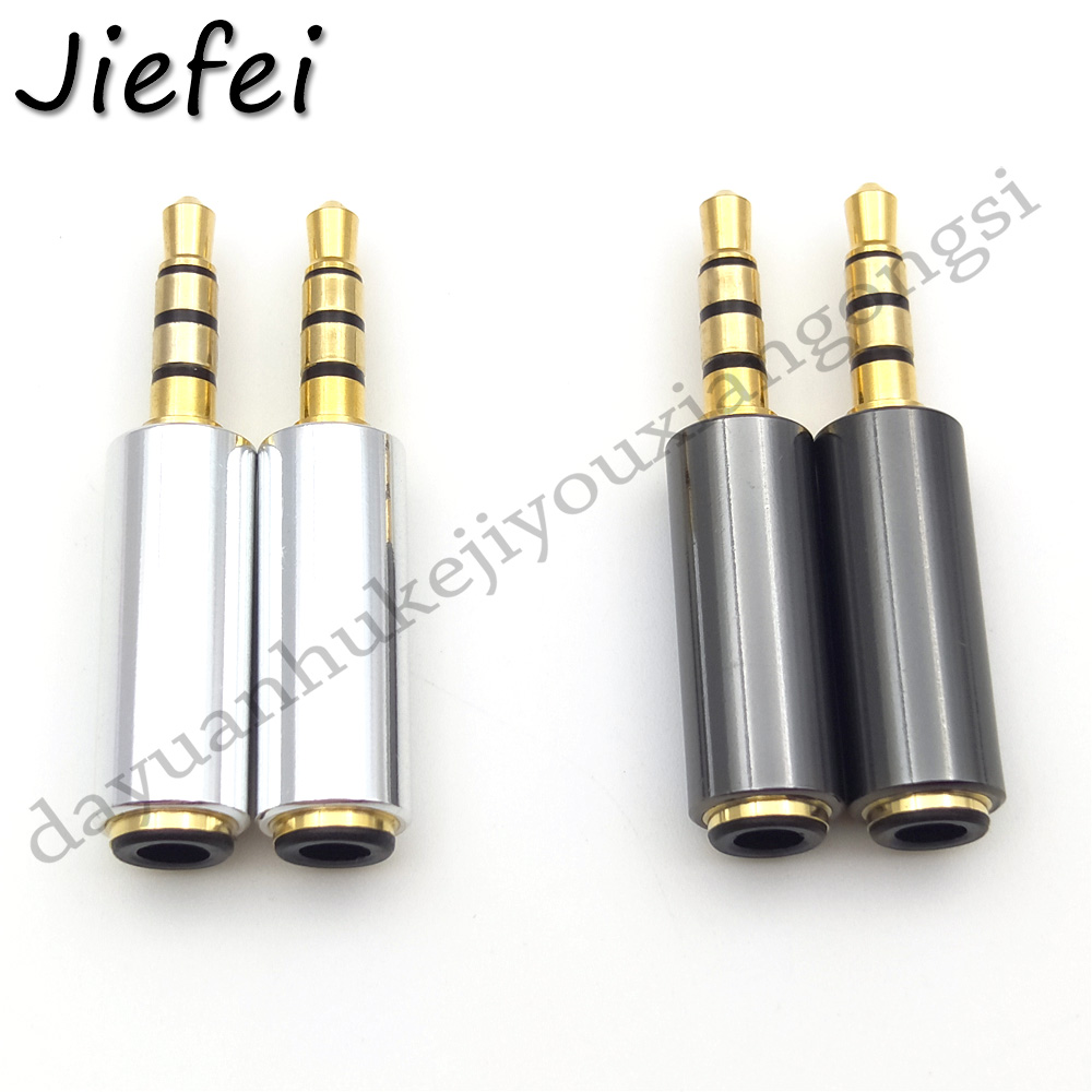 2pcs Gold 3.5mm To 3.5mm TRRS 4 Conductor Male/Female Port Extender Shielded Adapter 3.5 Mm OMTP To 3.5 Mm CTIA Converter