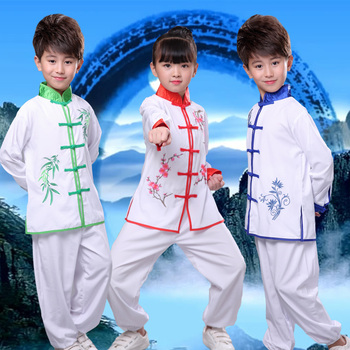 3 Color Martial Arts Uniform Kung Fu Suit Girls Boys Children Chinese Traditional Wushu Clothing Stage Performance Costume Set embroidered tai chi suit kung fu performance clothing women morning exercise costume suits tops pants chiffon cardigan