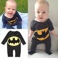 0-24 M Batman Roupas 2017 Outono infantil Vestuário Manga Comprida Bat Decoração Quente Romper Do Bebê Elástico de Super-heróis Batman Roupas
