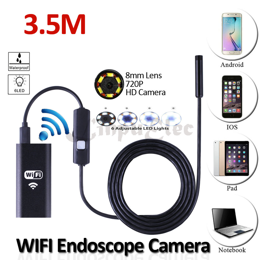 8mm Lens WIFI Iphone USB Endoscope Camera HD720P 3.5M Snake USB IP67 Waterproof Inspection Tablet Borescope Android HD Camera 8mm 1m 2m 3 5m wifi ios endoscope camera borescope ip67 waterproof inspection for iphone endoscope android pc hd ip camera