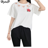 Hzirip T-Shirt Women Tops Floral Embroidery Hollow Out O-Neck Loose Shirts Top Femme Camisetas Mujer Women Fashion Summer 2017
