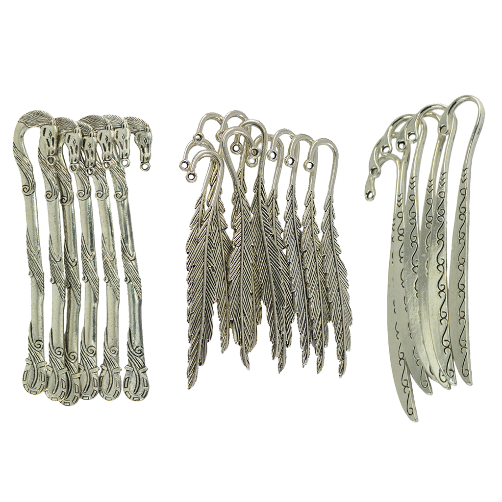 22 Pieces/ Lot Tibetan Silver Horse Head Carving/ Feather Shape Beading Bookmarks With Loop For DIY Making Crafts Wedding Gift