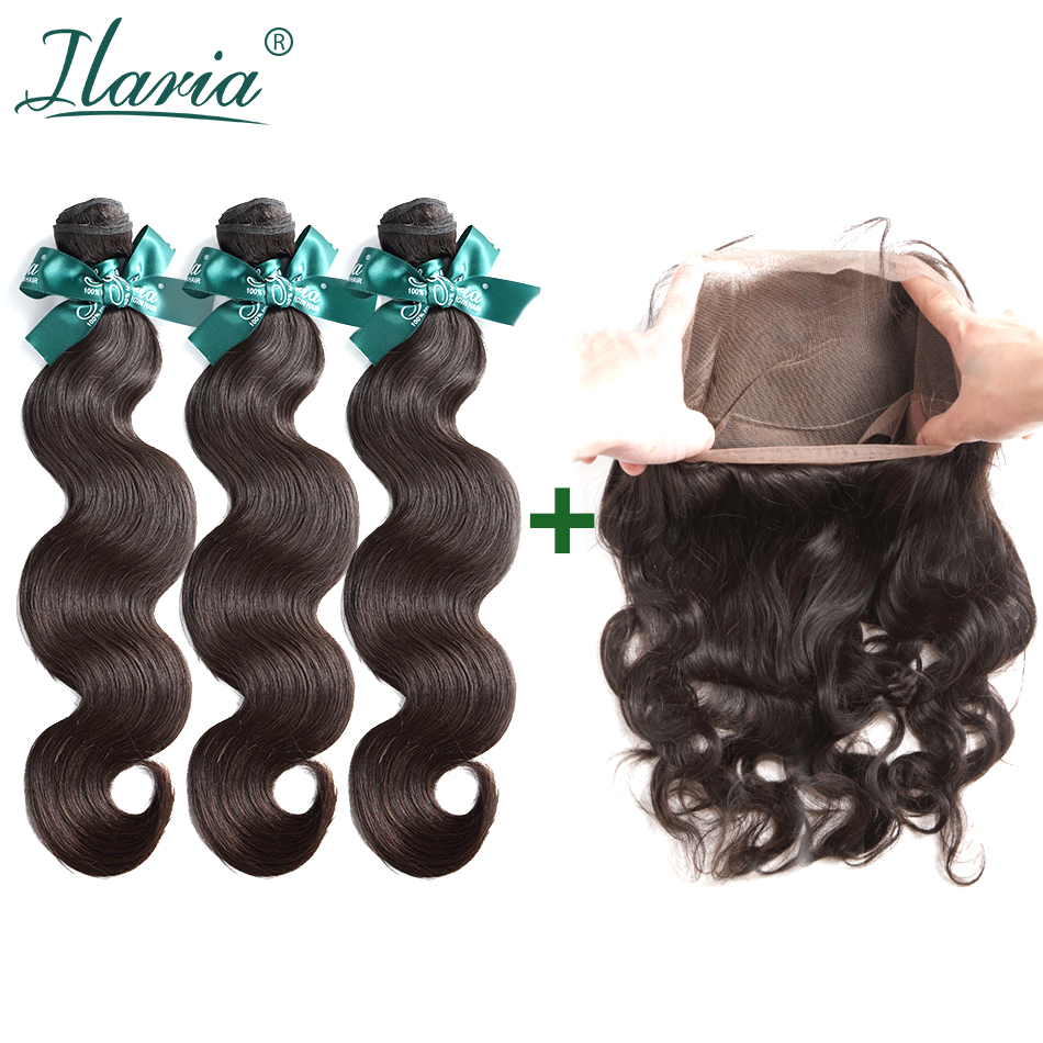 ILARIA HAIR Brazilian Hair 360 Lace Frontal With Bundles Body Wave Grade 7A 100% Brazilian Virgin Hair 3 Bundles With Closure
