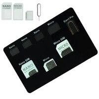Conjunto de adaptador de cartão sim & caso suporte de cartão nano sim com pino do telefone agulha qualidade sim  conversor conjunto para nano micro cartão sim|Conjuntos de ferramenta SIM|Telefonia e Comunicação -