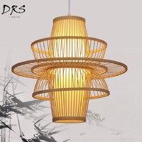 Китайский бамбуковый арт Takraw подвесные светильники светодио дный кухня столовая и бар подвесные лампы винтажная спальня гостиная исследов